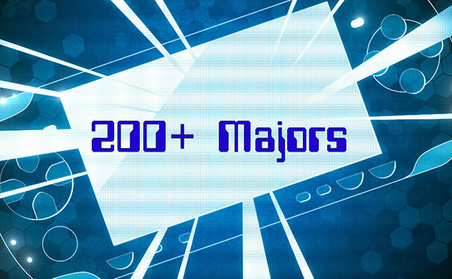 Stylized graphic saying 200+ majors.