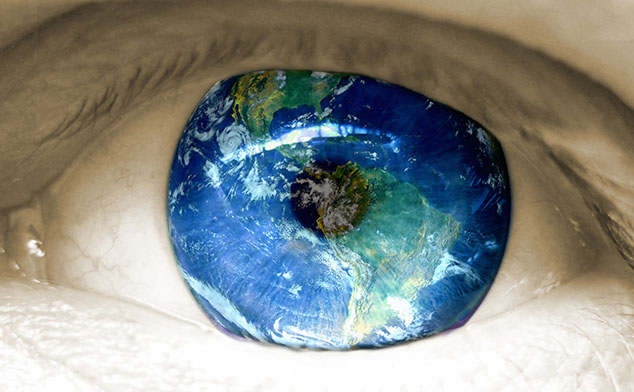 Closeup photo of an eyeball that is a globe.