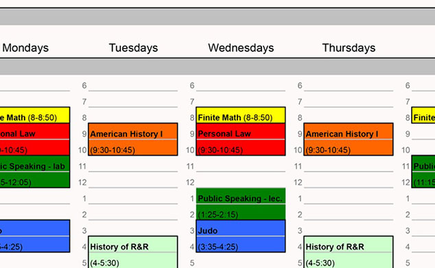 Photo of a daily class schedule for a student.
