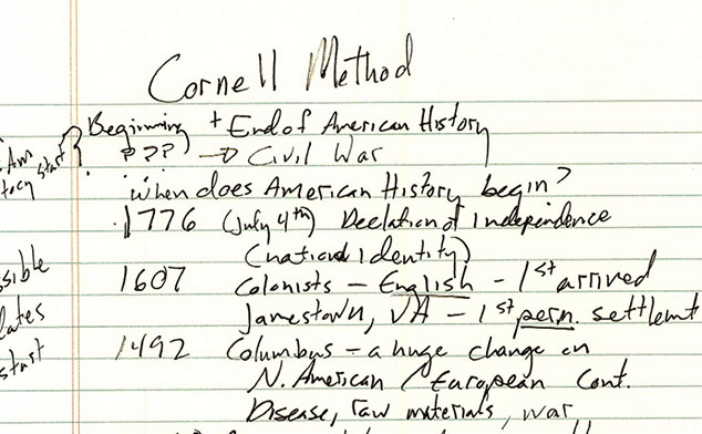 Photo of handwritten notes on the Cornell Method.