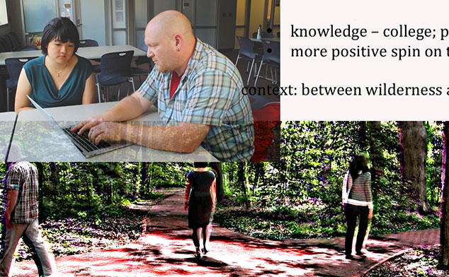 Combined photos with one showing SAC's Andrew Koke in a session with a student. The other photo depicts three students walking down different paths.