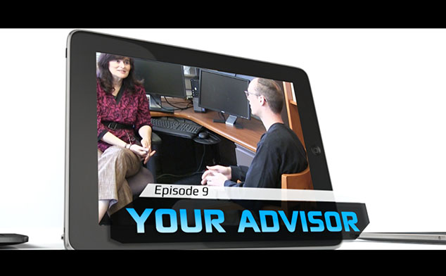 Photo of an advising session video being displayed on the screen of an iPad.